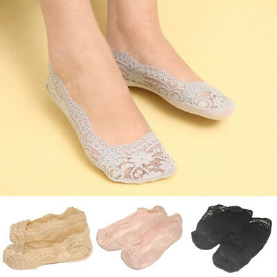 Kids Child Girls Invisible Thin Socks Lace Floral Casual No Show Socks Non Slip