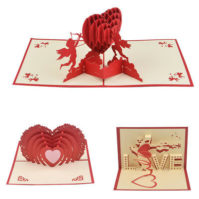 3D Pop Up Cards Valentine Lover Happy Birthday Anniversary Greeting Cards New