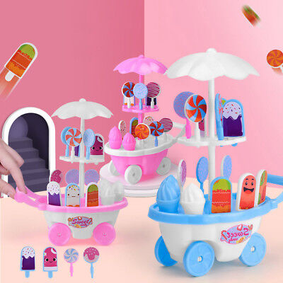 17Pcs Pretend Role Play Simulated Ice Cream Trolley Education Kids Toy Opulent