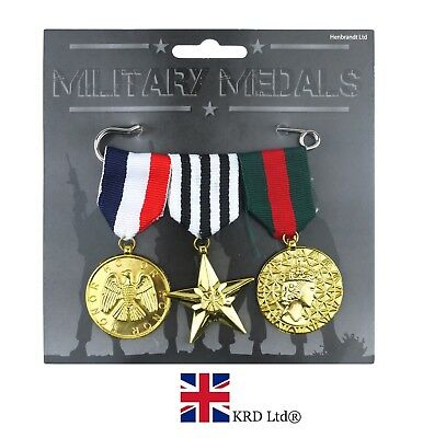 3x MILITARY MEDALS PACK Piece Plastic Medal Replica Kids Toy Fancy Dress Costume