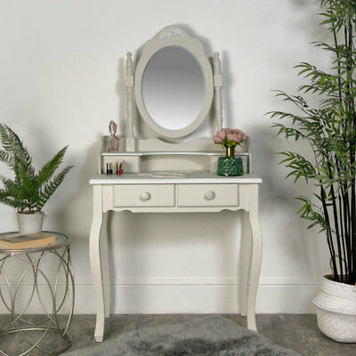 Grey white dressing table mirror set shabby vintage chic bedroom furniture