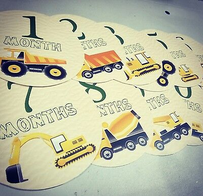 Monthly baby stickers. Work vehicles month sticker. Construction bulldozer crane