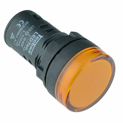 Yellow / Amber 22mm LED Pilot Panel Indicator Light 230V High Quality Techna