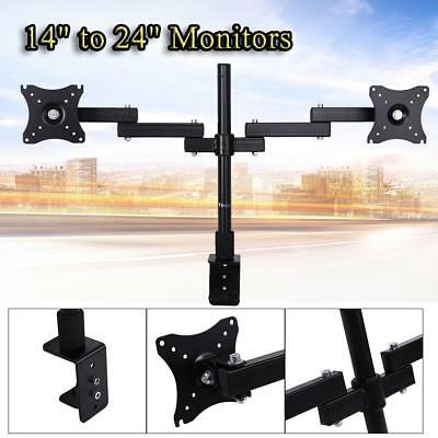 "14""-24"" Dual HD LED Desk Monitor Mount Bracket 2 Arms Holder Two LCD TV Screen"