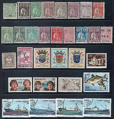 CAPE VERDE - Mixed Lot of 40 Stamps, MH, Good - Fine Used and CTO 2 Scans