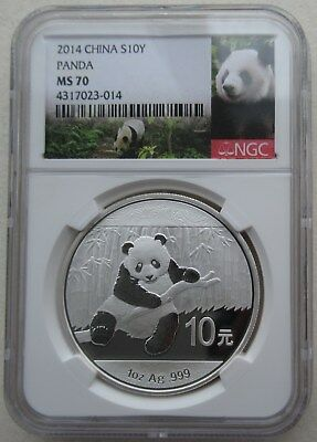 NGC MS70 China 2014 Panda Commemorative Silver Coin 1oz 10 Yuan