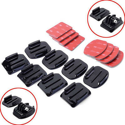 8pcs Flat Curved Adhesive Mount Base Helmet Accessories For Gopro Hero 1/2/3+ UK