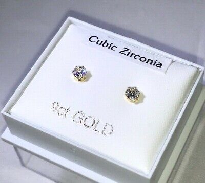 9ct Gold Cubic Zirconia Stud Earrings - Different Sizes Available