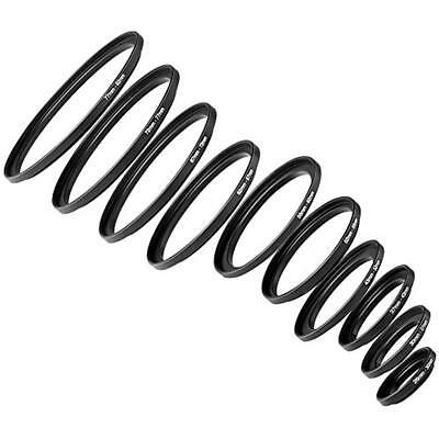 10 Pieces Anodized Black Metal Step-up Adapter Ring Set Including 26-30mm,