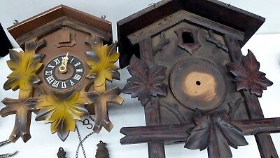 2 Cuckoo Clock Cases Parts Restoration German Black Forest August Schwer Regula