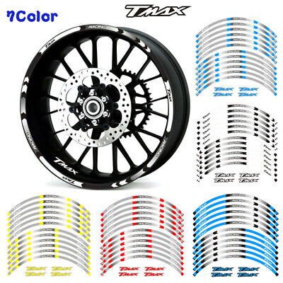 """Fit For Yamaha Tmax T-Max Motorcycle Rim """"17 Stripes Wheel Decals Tape Stickers"""