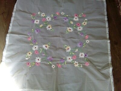 Charming vintage tablecloth hand embroidered bright flowers on net