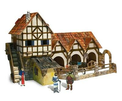 Cardboard model kit. The medieval town. Stable. Wargame landscape.