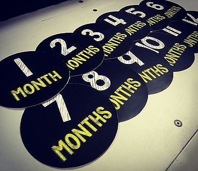 Monthly baby stickers. Simple black and yellow chalk bodysuit infants