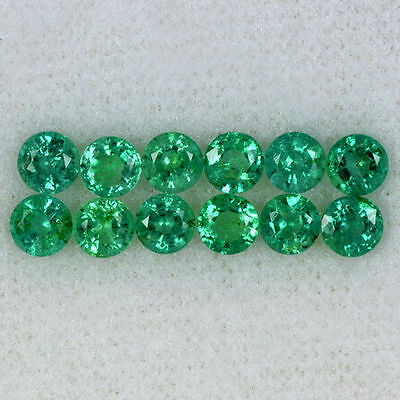 2.2 Cts Natural Emerald Round Cut Lot 6-Pairs Zambia Untreated 3.7 upto 3.8 mm $
