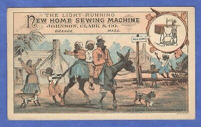 New Home Sewing Machine Family Rides Donkey Black Americana Victorian Trade Card