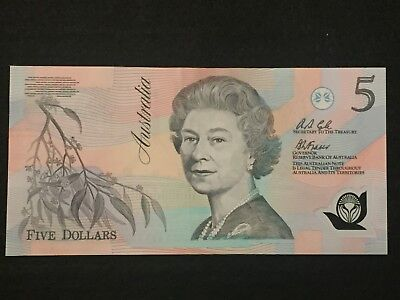 1992 Australian first polymer $5 Banknote Fraser/Cole aUnc Serial AB 17