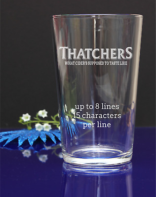 Personalised Engraved Thatchers Cider PINT glass present gift B-day, x-mas 297
