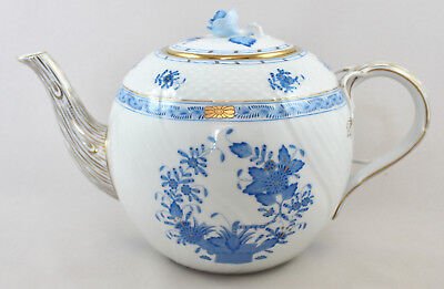 Rare Herend Porcelain Indian Basket Blue Fb Teapot 1602 1St Mint!