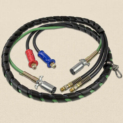 12' 3-In-1 Wrap - 7 Way Electrical Trailer Cord Cable Abs & Air Line Hoses