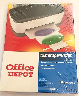 NIP Sealed Office Depot Color Inkjet Transparency Film Clear 8.5x11 Pack Of 50