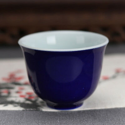 China antique Porcelain Ming xuande blue glaze gongfu Wine Glass tea cup