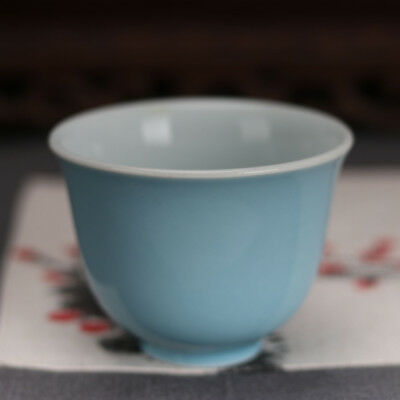 China antique Porcelain Ming xuande Sky blue glaze gongfu tea cup Collection