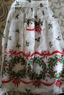 Vintage Holiday, Christmas, Half Apron, White With Green And Red Holly Wreaths,