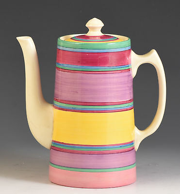 Clarice Cliff VERY UNUSUAL PASTEL BANDED LIBERTY STRIPE TANKARD COFFEE POT C.193