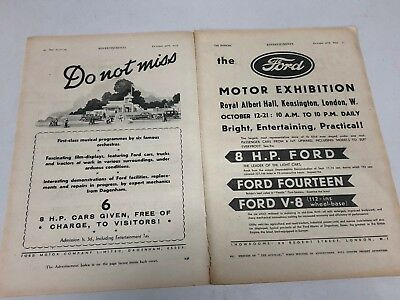 Rare 1933 FORD Motor Exhibition B&W 2 Page Car Vintage Magazine Advert