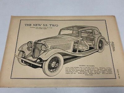 Very Rare 1933 SS Cars Motor Car Magazine Advert Diagram plus Bentley on back