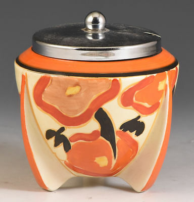 Clarice Cliff ORANGE CHINTZ ROCKET SHAPE JAMPOT C.1933
