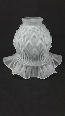 Antique Frosted Glass Lamp Light Shade Diamond Ruffled 2 Inch Fitter