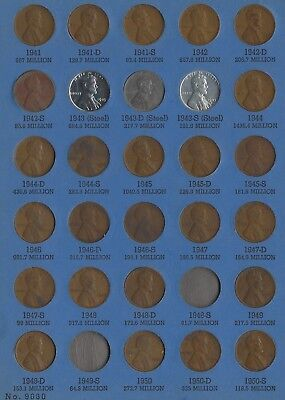Wheat & Lincoln Cents 1941 to 1962-D 30 BU and UNC Plus 12 more UNC (95 Total)