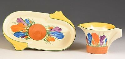 Clarice Cliff CROCUS DAFFODIL TRAY AND CREAMER SET C.1933