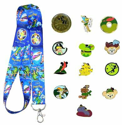 Peter Pan Themed Starter Lanyard Set with 5 Disney Park Trading Pins ~ Brand NEW