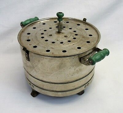 Vintage Popcorn Popper green wood handles hand stir electric 1940s 1950s kitchen