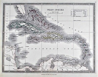 OLD ANTIQUE MAP CARIBBEAN WEST INDIES c1853 by G PHILIP OUTLINE HAND COLOUR