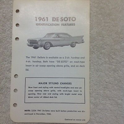 Vintage 1961 Desoto Literature Last Year of production...