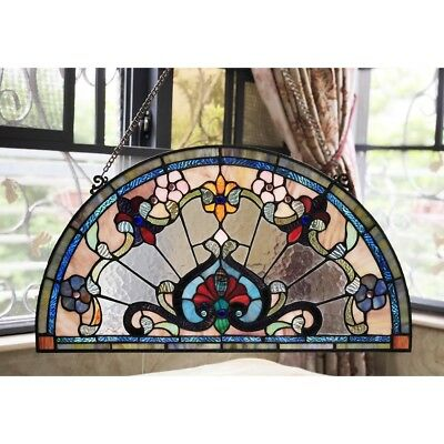 """Victorian Tiffany Style Stained Glass Window Panel 24"""" Half Circle Handcrafted"""