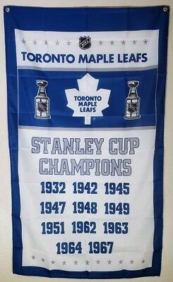 Toronto Maple Leafs Banner Stanley Cup Champions 3x5 Ft Flag NHL Hockey Man Cave