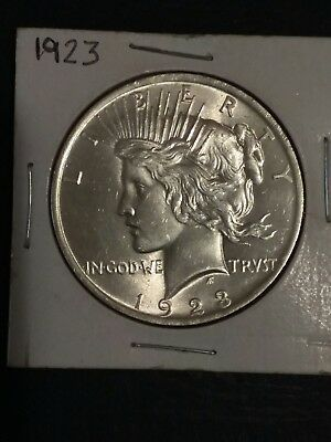 Early - 1923 - Peace Silver Dollar - 90% US Coin. Nice Uncirculated .