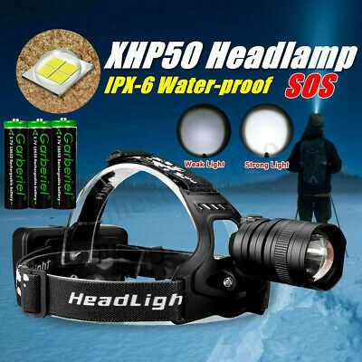 200000LM XHP50 LED Headlamp USB Rechargeable 18650 Headlight Flashlight Zoomable