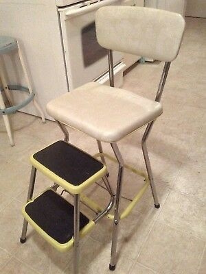 Strange Vintage Kitchen Step Stool Mid Century Cosco Yellow Padded Gmtry Best Dining Table And Chair Ideas Images Gmtryco