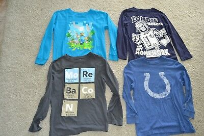 4-Boys Long Sleeve Cotton Shirts Zombie Robots/Colts/ Minecraft/ Crazy 8 Youth M
