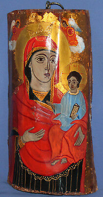 Orthodox Tempera Hand Painted Icon Virgin Mary Christ Child