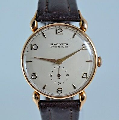 1930's ART DECO Swiss Benos Watch Solid 18k Gold Case Watch Wristwatch