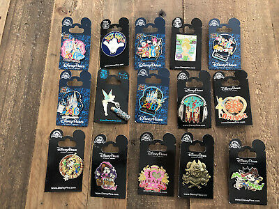 Mixed Lot Of 15 Disney Park Trading Pins On Cards