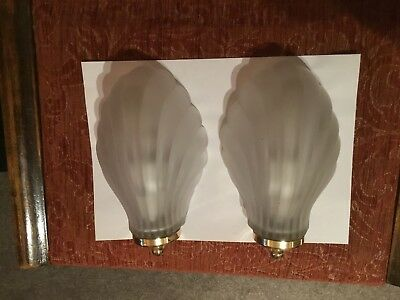 Pair of Art Deco Style Wall Light with Glass Shell Shade and Brass Fitting