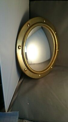 Vintage Small Brass Convex Ships Mirror
